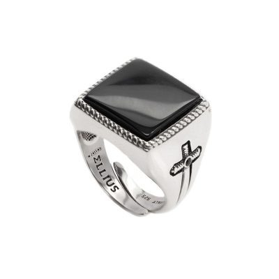 Square Gem Ring Aged Silver