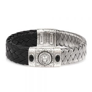 Porta Romana Silver and Leather Bracelet