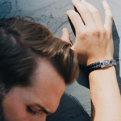 Photo Worn Porta Romana Silver and Leather Bracelet