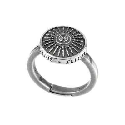 Clipeo Shield Ring in Aged Silver with Zirconia White