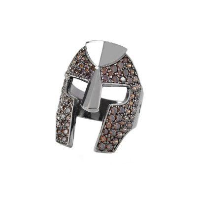 Helmet Gladiator Ring with Zirconia Brown