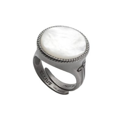 Circular Gem Ring Black Rhodium