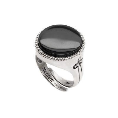 Circular Gem Ring Aged Silver