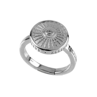 Clipeo Shield Ring in Rhodium with Zirconia White