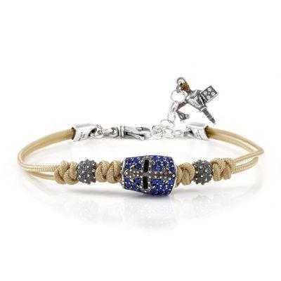 Bracelet Knight Helmet Stones Blue