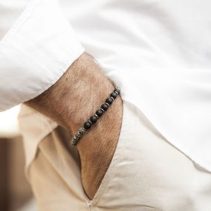 Photo Worn Terrestrial Globe Silver Bracelet