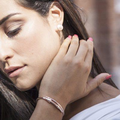 Photo Worn Shield Earrings