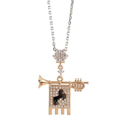 Clarion of the Musicians Necklace Rose White Stones
