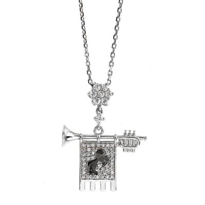 Clarion of the Musicians Necklace Rhodium White Stones