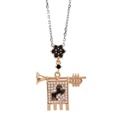 Clarion of the Musicians Necklace Rose Black Stones