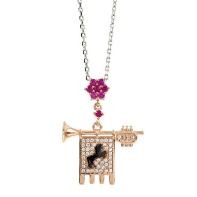 Clarion of the Musicians Necklace Rose Ruby Stones