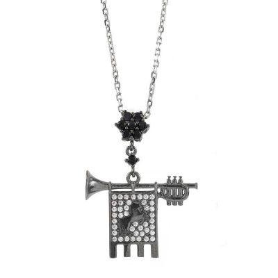Clarion of the Musicians Necklace Black Rhodium Black Stones