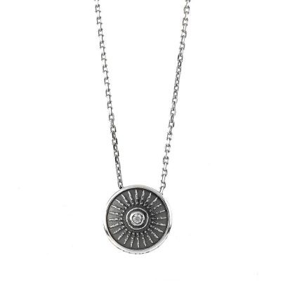 Clipeo Shield Necklace Aged Silver