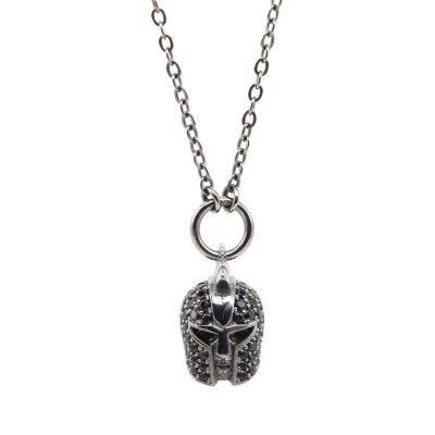 Gladiator Helmet Necklace Black Stones