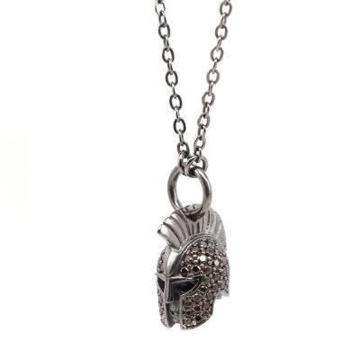 Gladiator Helmet Necklace Brown Stones