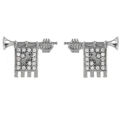 Clarions of Musicians Lobe Earrings in Rhodium