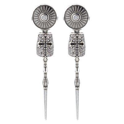 Golden Lance Symmetrical Earrings Stones White