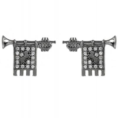 Clarions of Musicians Lobe Earringss in Black Rhodium