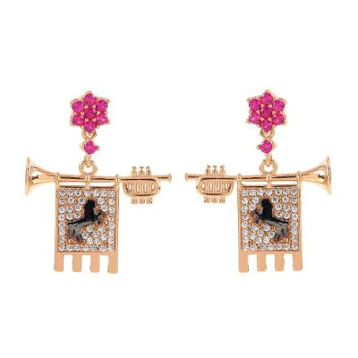 Clarions of Musicians Symmetrical Earrings Stones Ruby