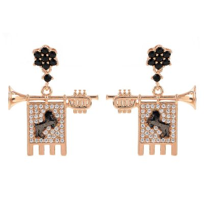 Clarions of Musicians Symmetrical Earrings Stones Black