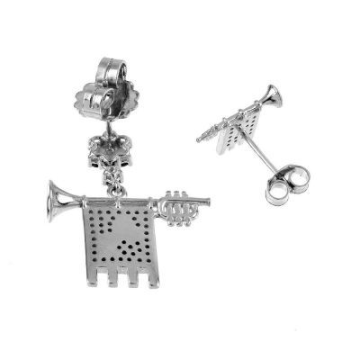 Clarions of Musicians Asymmetrical Earrings in Rhodium Back
