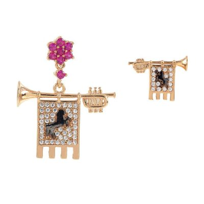 Clarions of Musicians Asymmetrical Earrings Stones Ruby