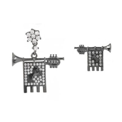 Clarions of Musicians Asymmetrical Earrings Stones White