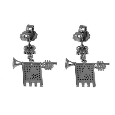 Clarions of Musicians Symmetrical Earringss in Black Rhodium Back