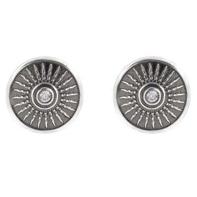 Shield Earrings Aged Silver White Stones