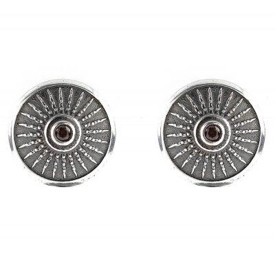 Shield Earrings Aged Silver Brown Stones