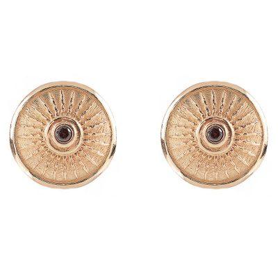 Shield Earrings Rose Brown Stones