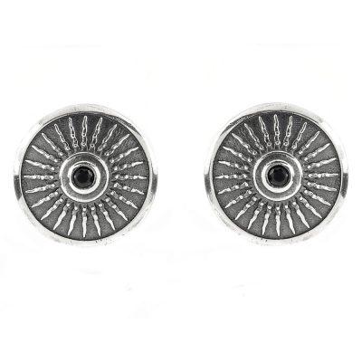 Shield Earrings Aged Silver Black Stones