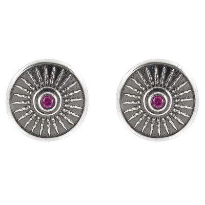 Shield Earrings Aged Silver Ruby Stones