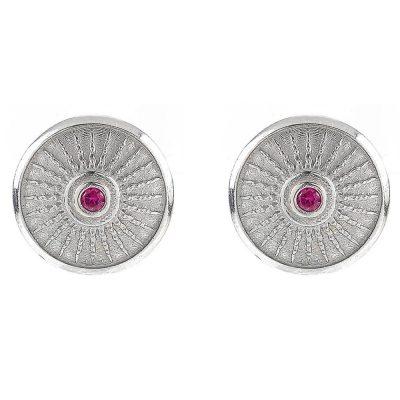 Shield Earrings Rhodium Ruby Stones
