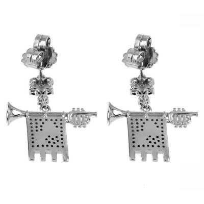 Clarions of Musicians Symmetrical Earrings in Rhodium Back