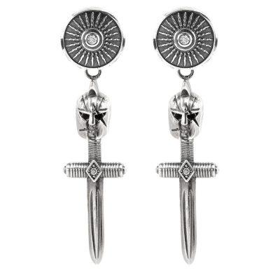 Female Gladiator Symmetrical Earrings White Stones
