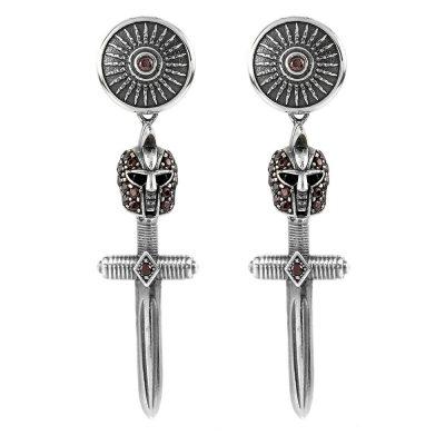 Female Gladiator Armor Symmetrical Earrings Brown Stones