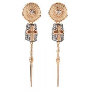 Golden Lance Symmetrical Earrings – Rose, White