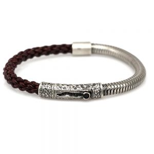 Volcano Men's Bracelet Silver and Leather
