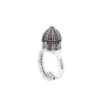 Anello Cupola Minimal Superga Torino argento ellius