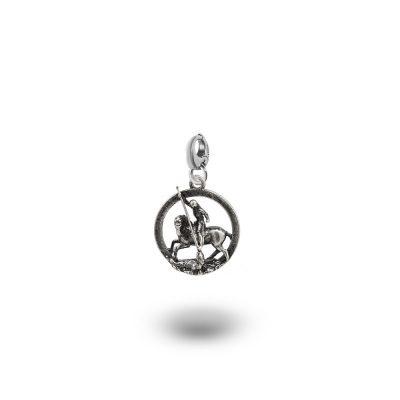 Charm Mitologia San Giorgio gioielli argento Ellius moschettone