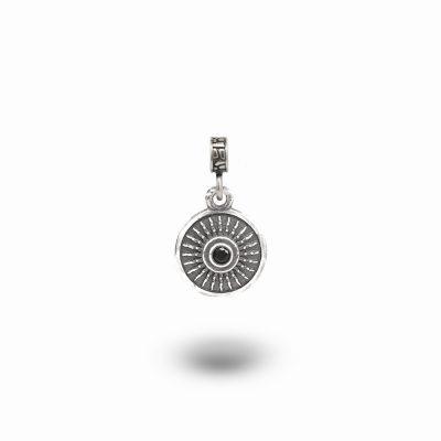Charm Mitologia Scudo pietra nera gioielli argento Ellius