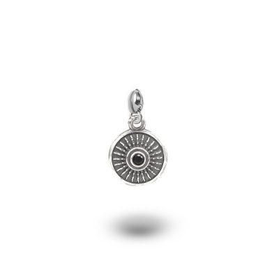 Charm Mitologia Scudo pietra nera gioielli argento Ellius mo