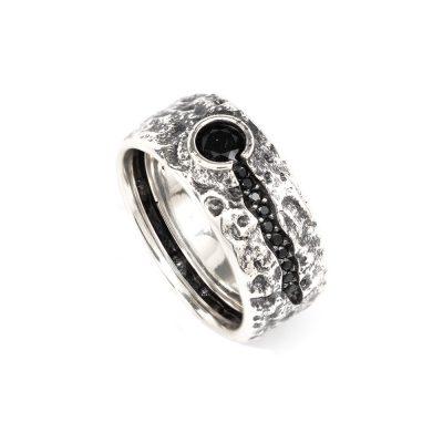 anello vulcano uomo argento