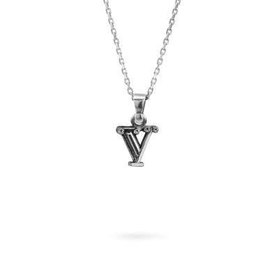collana lettera V argento ellius gioielli