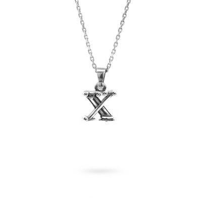 collana lettera X argento ellius gioielli