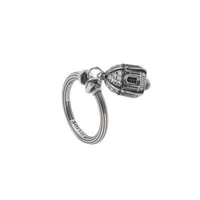 Anello Portafortuna Capri Pietre Bianche argento gioielli Ellius