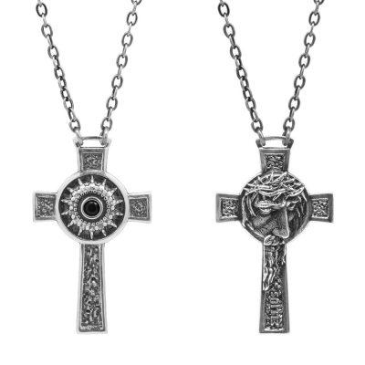Collana Natività Croce Uomo gioielli argento Ellius Volto Gesu
