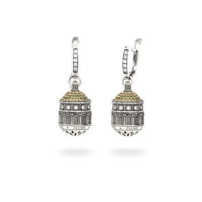 Orecchini Cupola Santuario Tindari Messina gioielli argento Ellius