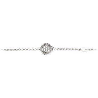 Bracciale neonato Natività rodio pietre bianche gioielli argento Ellius fronte